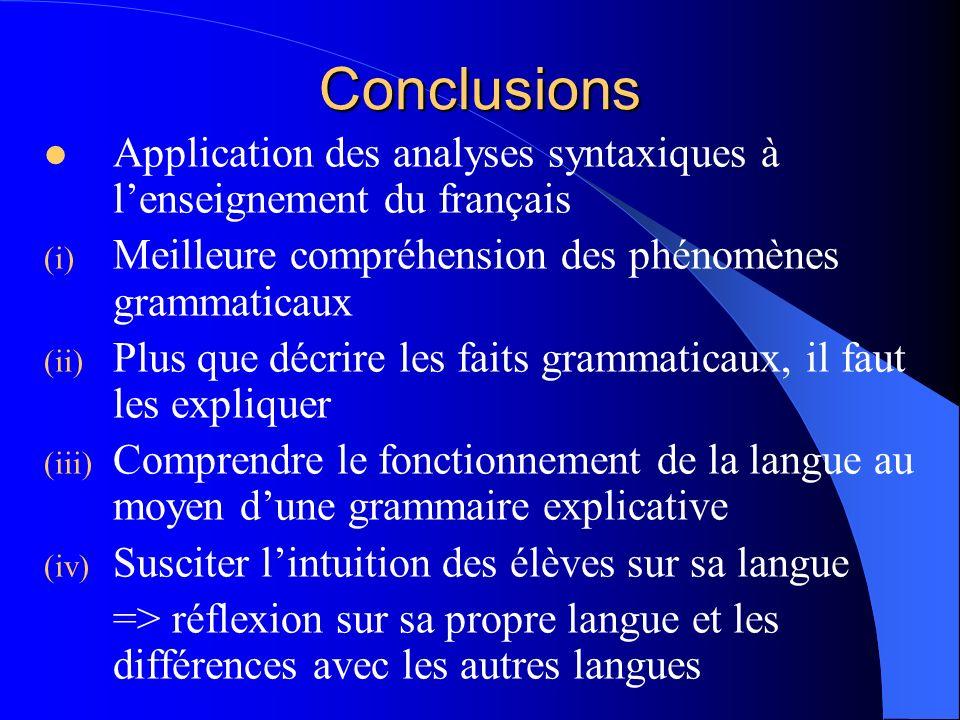 Conclusions Application des analyses syntaxiques à l'enseignement du français. Meilleure compréhension des phénomènes grammaticaux.