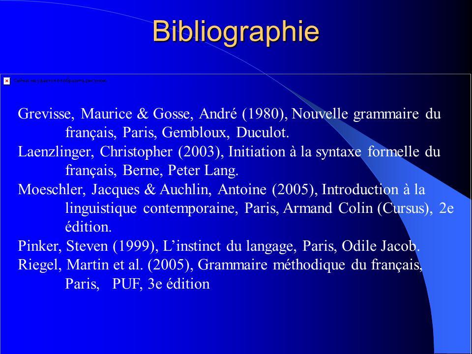 Bibliographie Grevisse, Maurice & Gosse, André (1980), Nouvelle grammaire du français, Paris, Gembloux, Duculot.