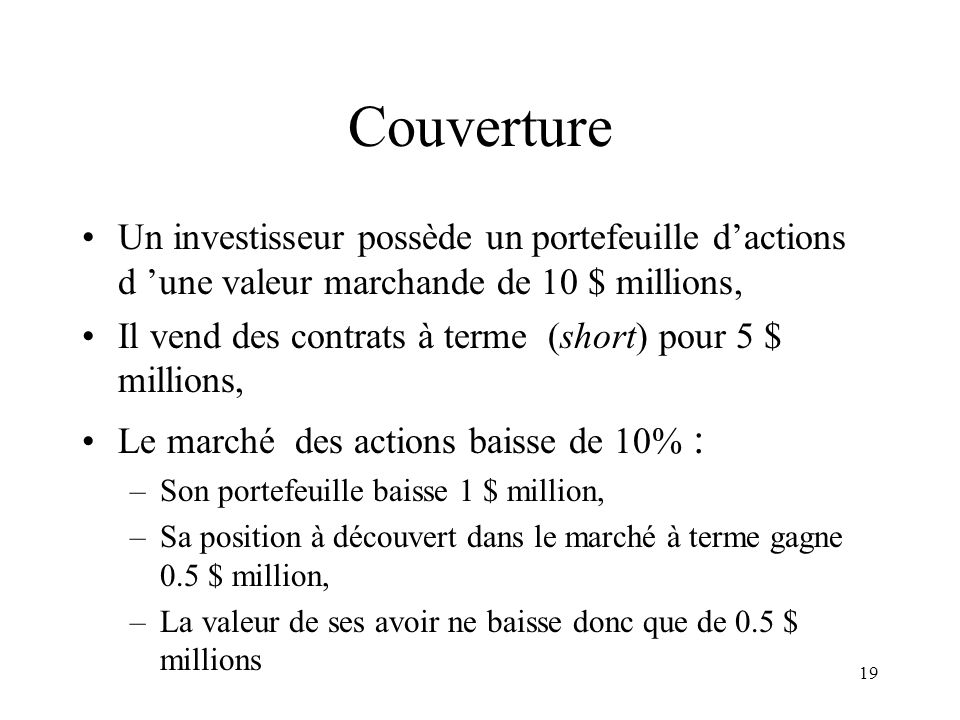 Couverture Un investisseur possède un portefeuille d'actions d 'une valeur marchande de 10 $ millions,
