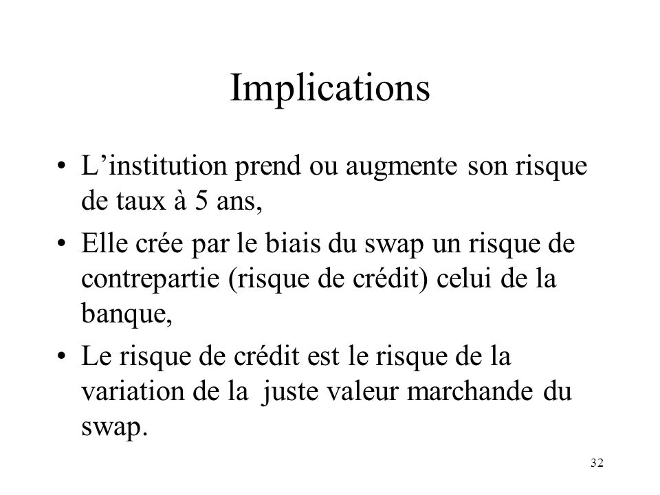 Implications L'institution prend ou augmente son risque de taux à 5 ans,