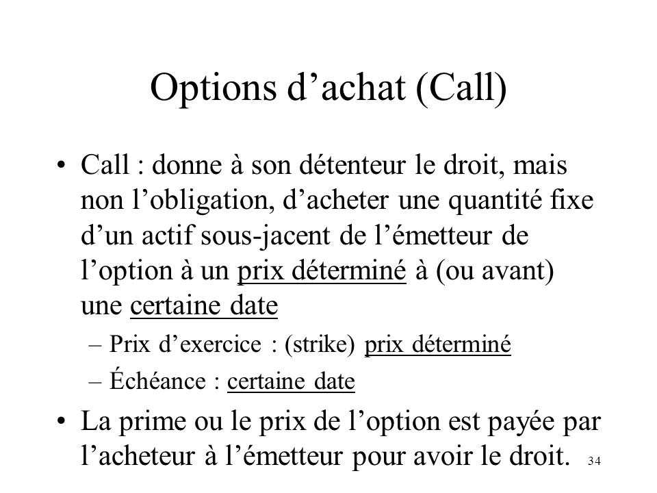 Options d'achat (Call)
