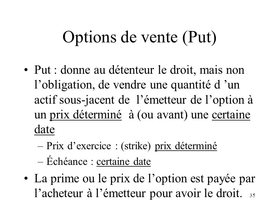 Options de vente (Put)