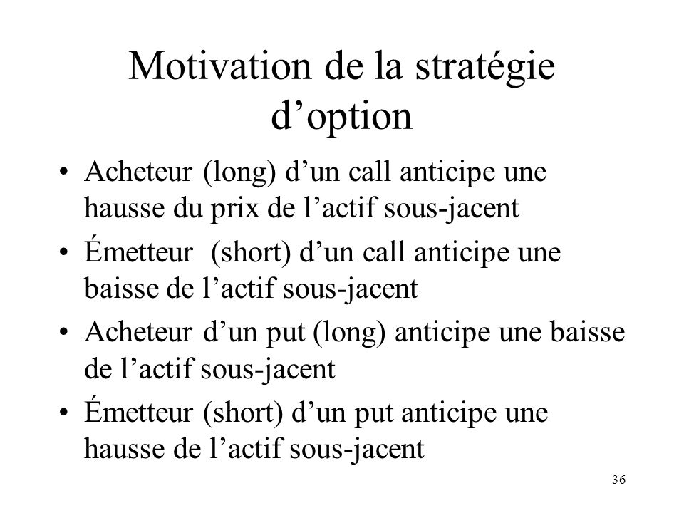 Motivation de la stratégie d'option