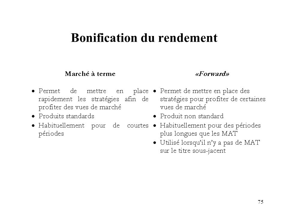 Bonification du rendement