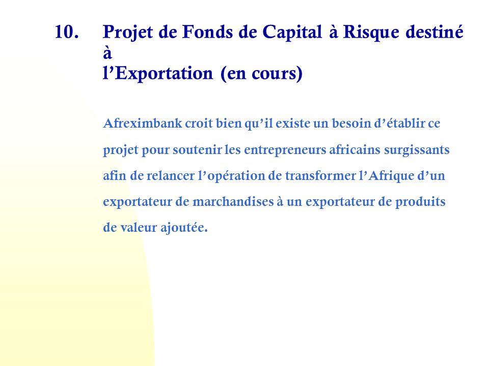 10. Projet de Fonds de Capital à Risque destiné à l'Exportation (en cours)