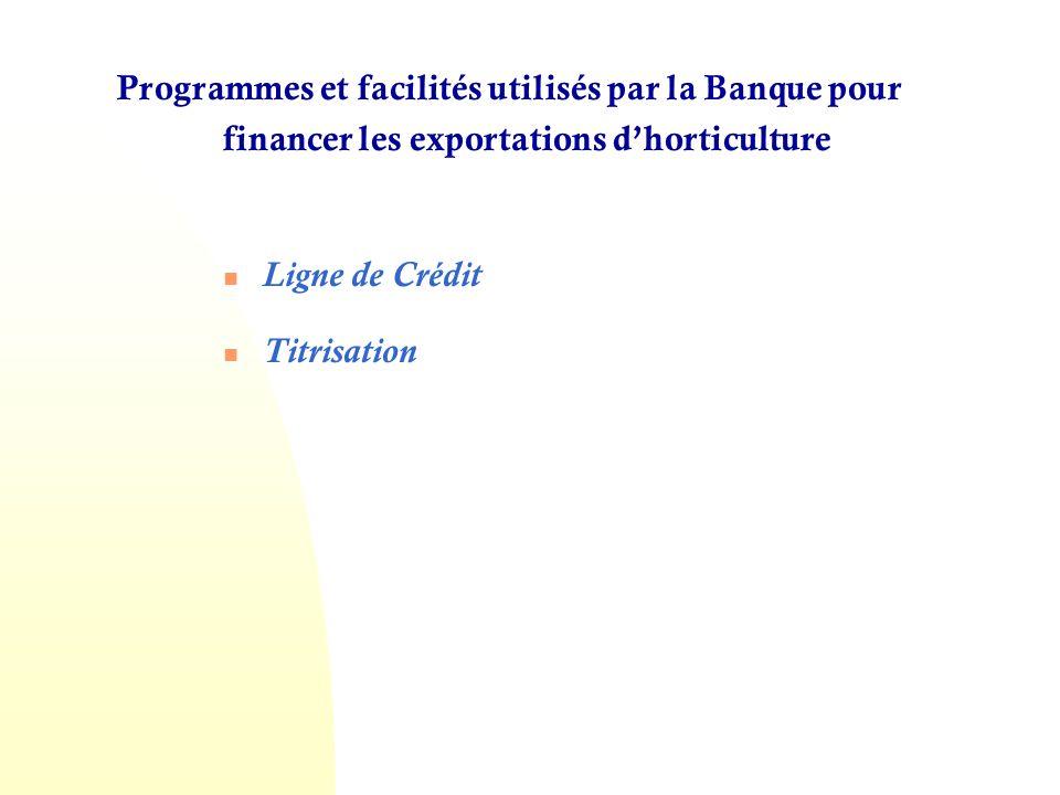 Programmes et facilités utilisés par la Banque pour financer les exportations d'horticulture