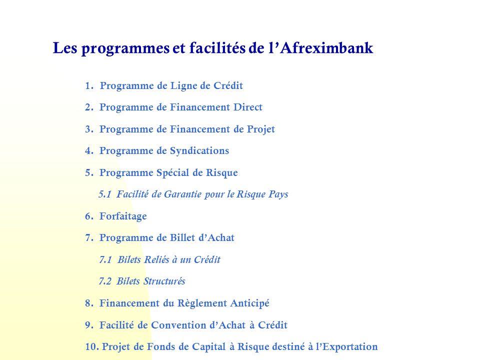 Les programmes et facilités de l'Afreximbank
