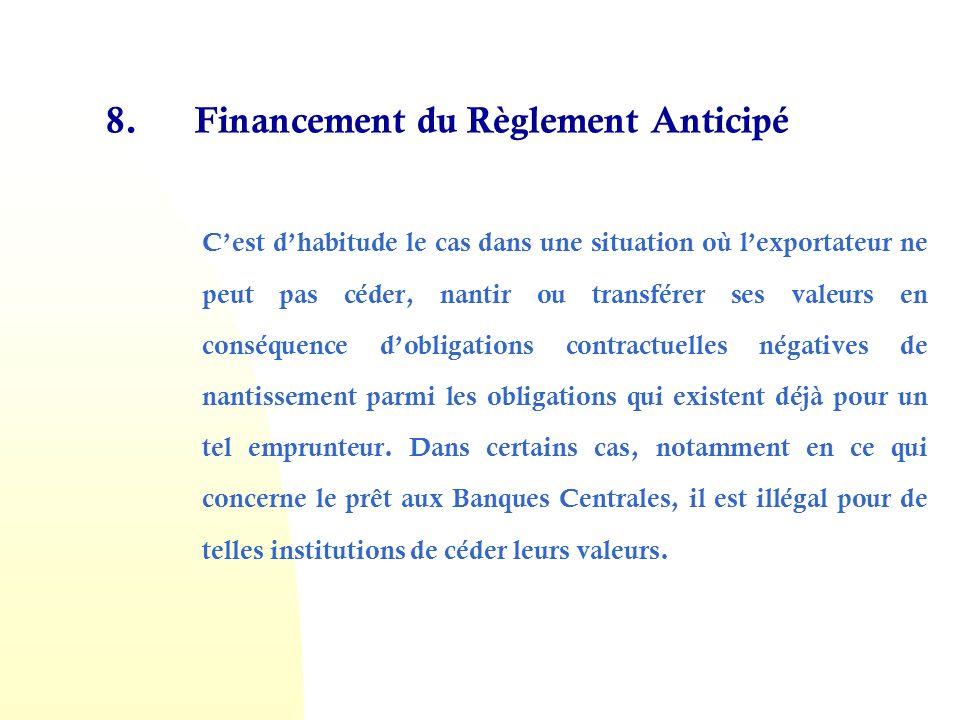 8. Financement du Règlement Anticipé