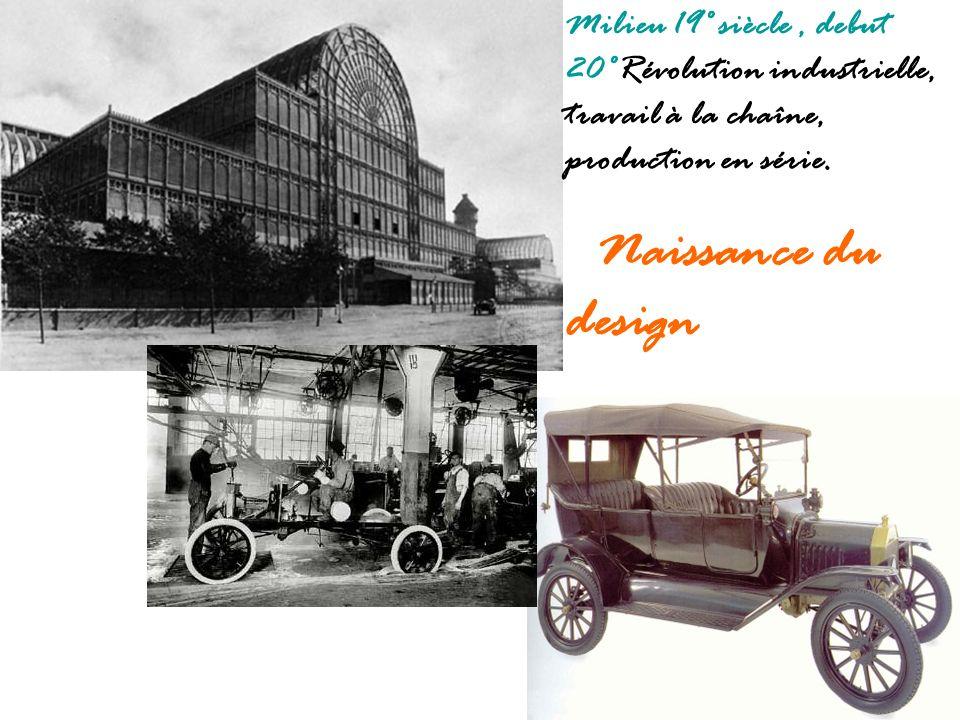 Milieu 19° siècle , debut 20°Révolution industrielle, travail à la chaîne, production en série.