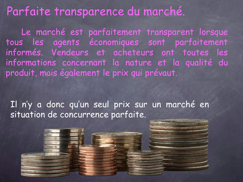 Parfaite transparence du marché.