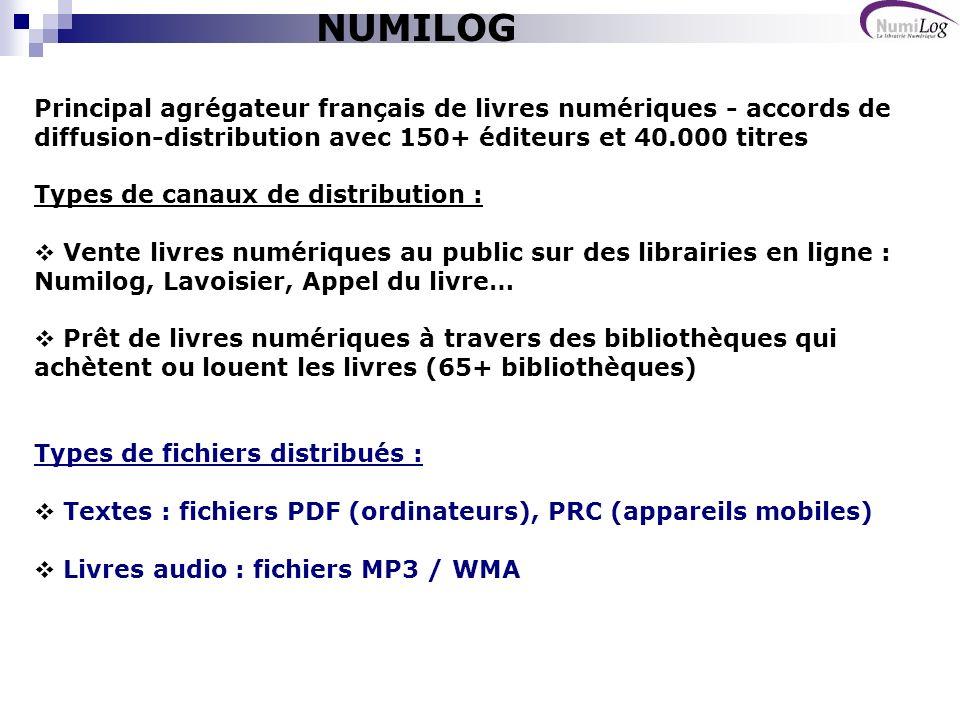 NUMILOG Principal agrégateur français de livres numériques - accords de diffusion-distribution avec 150+ éditeurs et 40.000 titres.