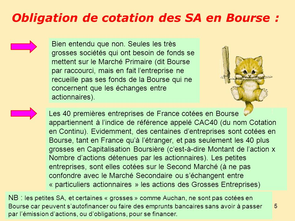 Obligation de cotation des SA en Bourse :