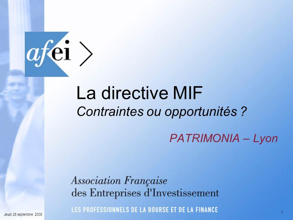 La directive MIF Contraintes ou opportunités