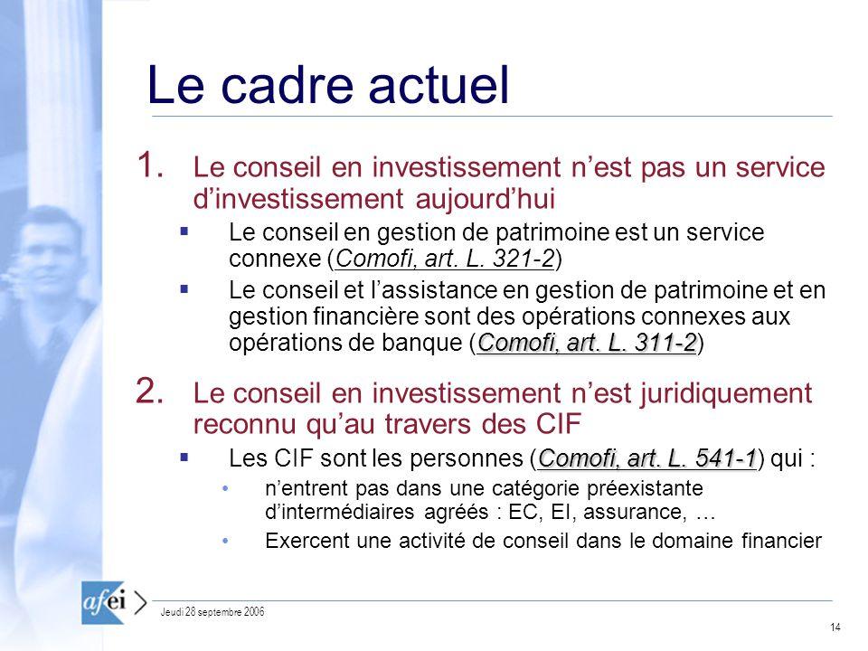 Le cadre actuel Le conseil en investissement n'est pas un service d'investissement aujourd'hui.