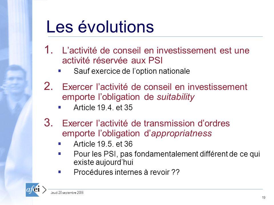Les évolutions L'activité de conseil en investissement est une activité réservée aux PSI. Sauf exercice de l'option nationale.