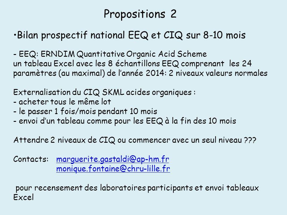 Propositions 2 Bilan prospectif national EEQ et CIQ sur 8-10 mois