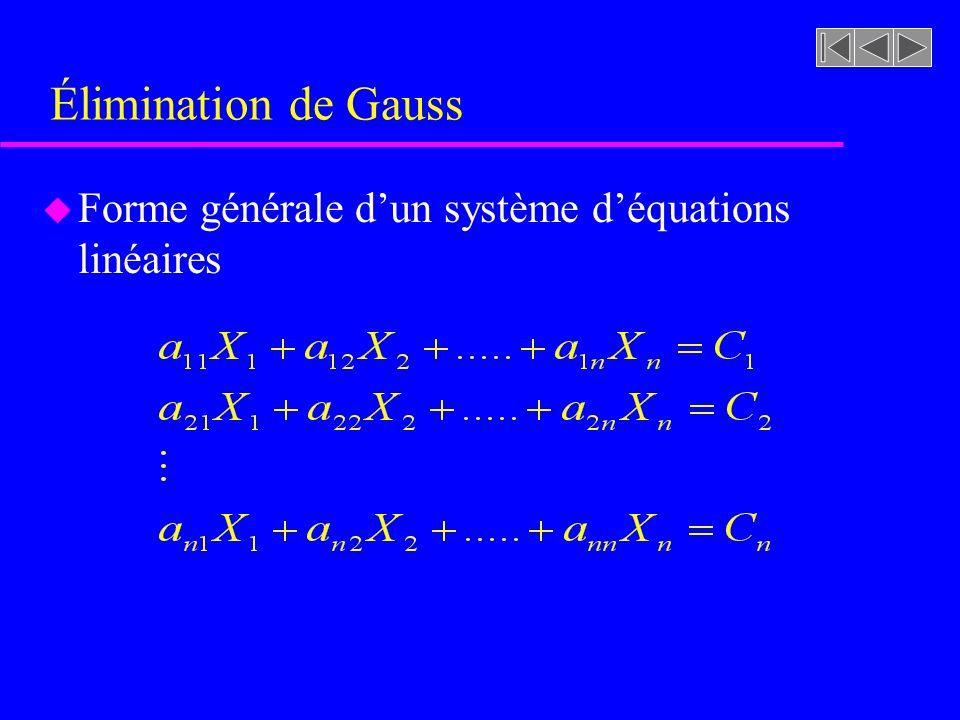 Élimination de Gauss Forme générale d'un système d'équations linéaires