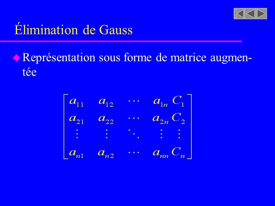 Élimination de Gauss Représentation sous forme de matrice augmen-tée