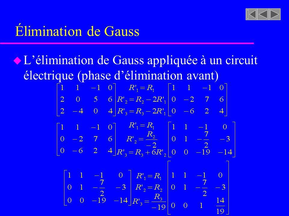 Élimination de Gauss L'élimination de Gauss appliquée à un circuit électrique (phase d'élimination avant)