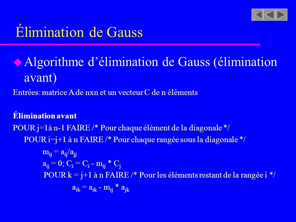 Élimination de Gauss Algorithme d'élimination de Gauss (élimination avant) Entrées: matrice A de nxn et un vecteur C de n éléments.