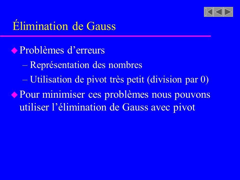 Élimination de Gauss Problèmes d'erreurs