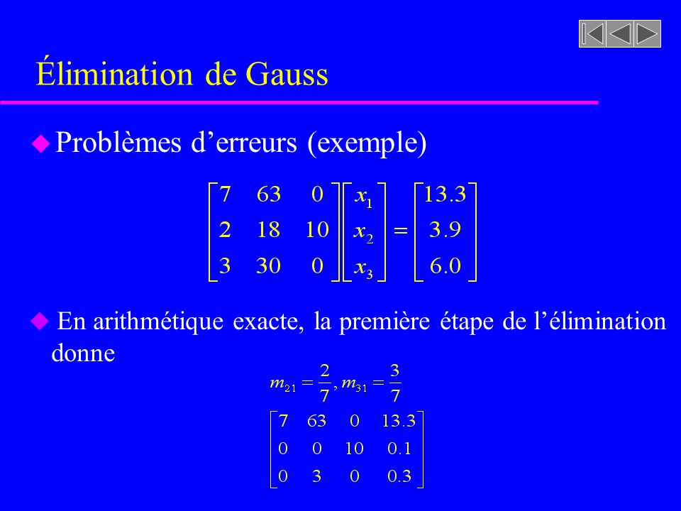 Élimination de Gauss Problèmes d'erreurs (exemple)