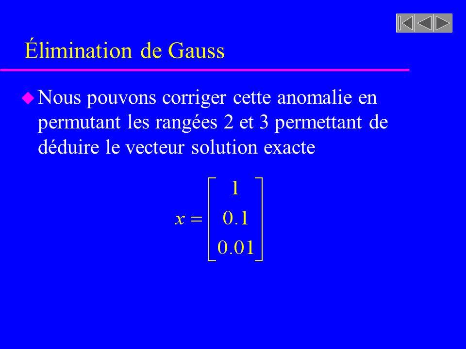Élimination de Gauss Nous pouvons corriger cette anomalie en permutant les rangées 2 et 3 permettant de déduire le vecteur solution exacte.