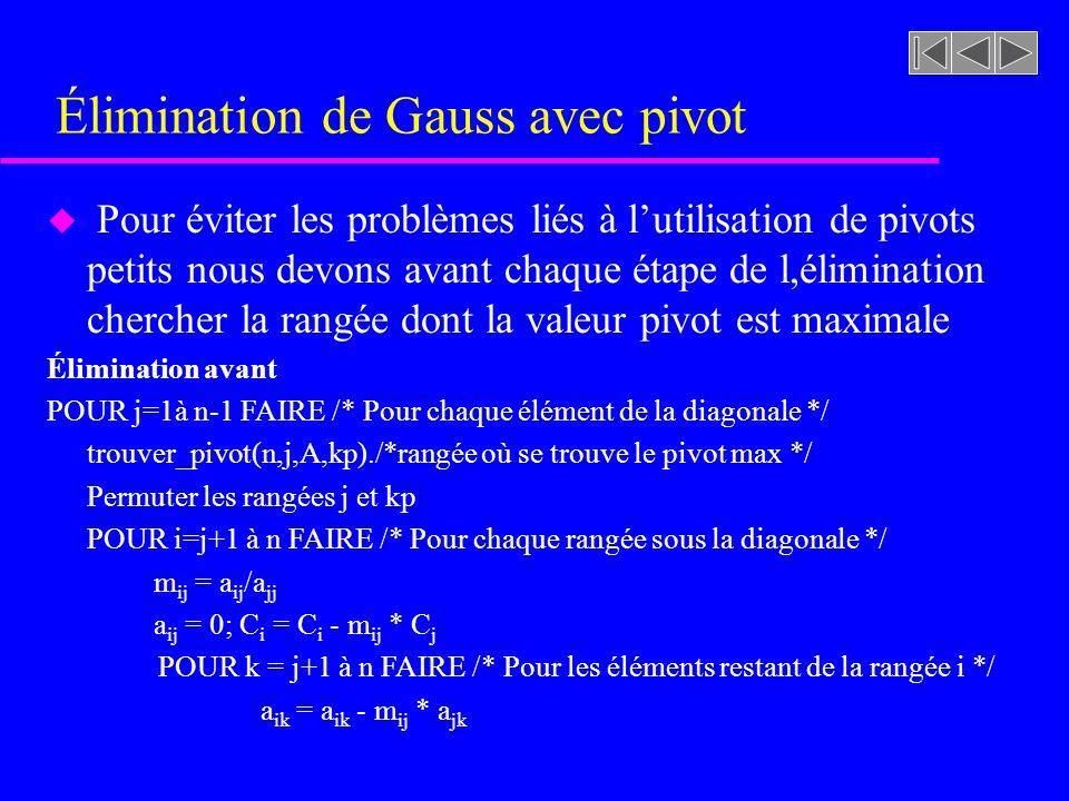 Élimination de Gauss avec pivot