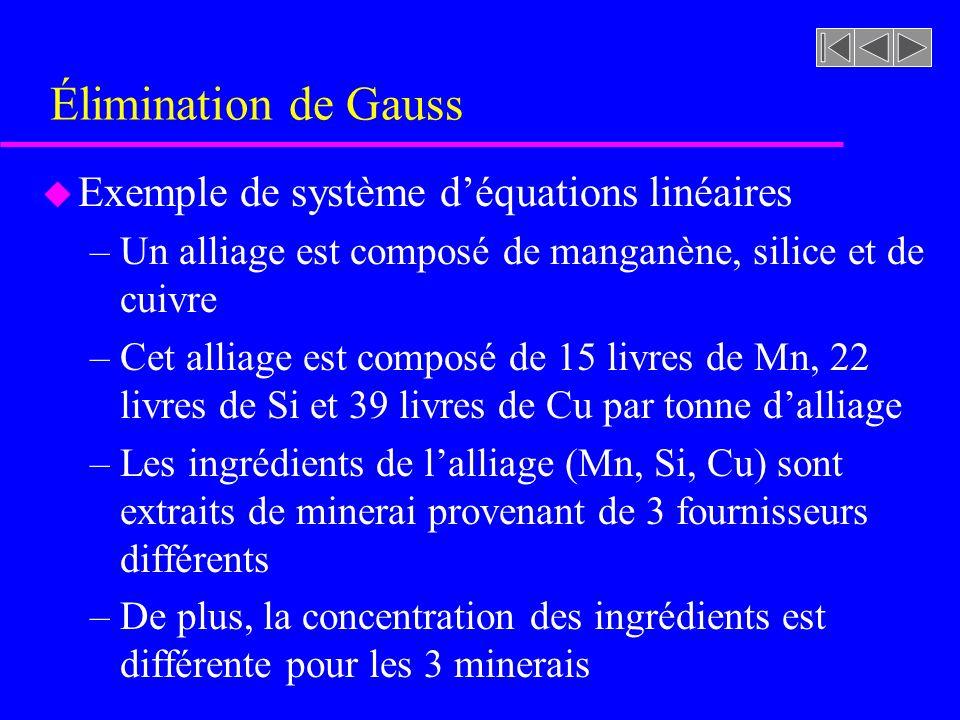 Élimination de Gauss Exemple de système d'équations linéaires