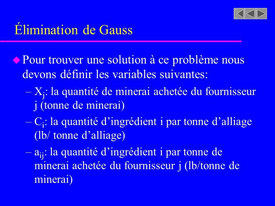 Élimination de Gauss Pour trouver une solution à ce problème nous devons définir les variables suivantes: