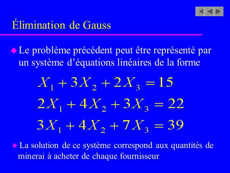 Élimination de Gauss Le problème précédent peut être représenté par un système d'équations linéaires de la forme.