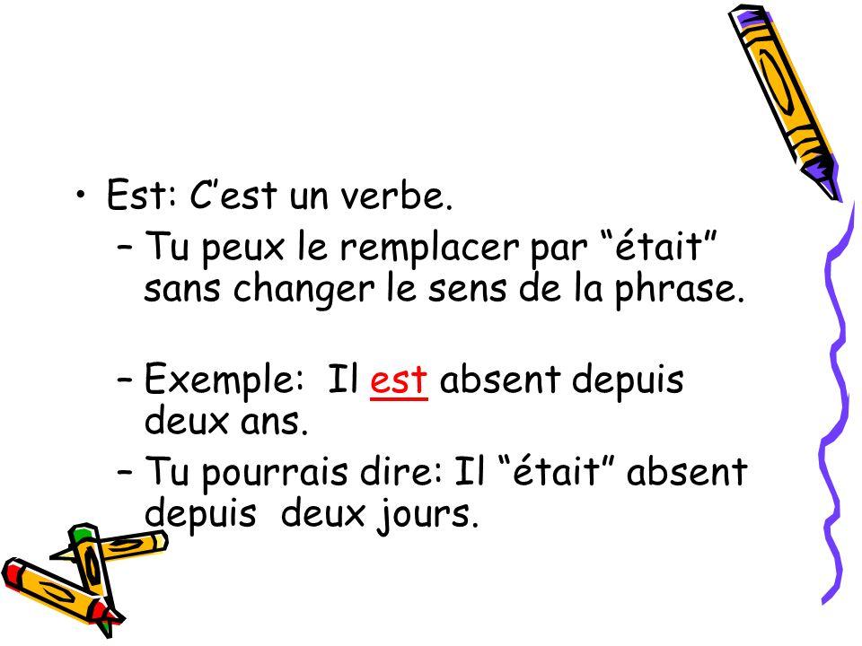 Est: C'est un verbe. Tu peux le remplacer par était sans changer le sens de la phrase. Exemple: Il est absent depuis deux ans.