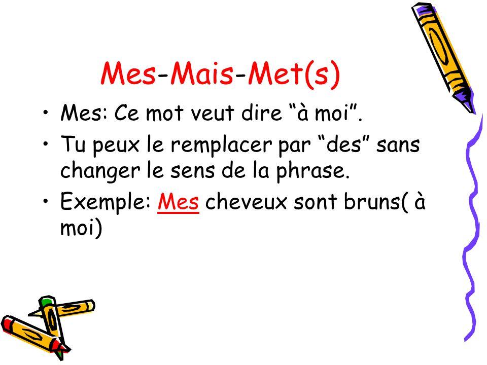 Mes-Mais-Met(s) Mes: Ce mot veut dire à moi .