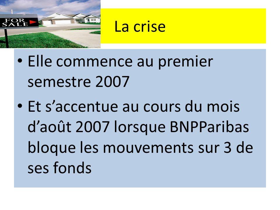La crise Elle commence au premier semestre 2007.