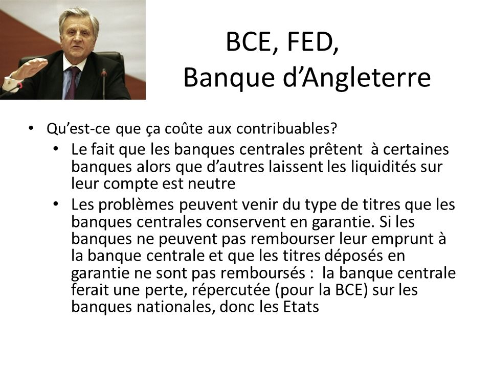 BCE, FED, Banque d'Angleterre