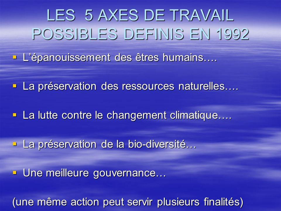 LES 5 AXES DE TRAVAIL POSSIBLES DEFINIS EN 1992