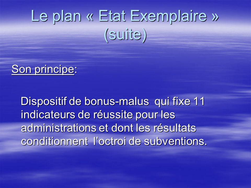 Le plan « Etat Exemplaire » (suite)