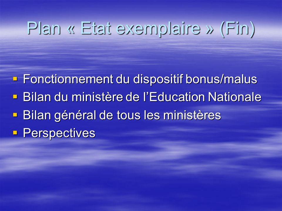 Plan « Etat exemplaire » (Fin)