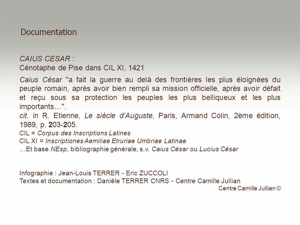 Documentation CAIUS CESAR : Cénotaphe de Pise dans CIL XI, 1421