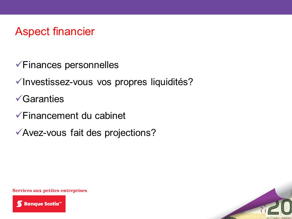 Aspect financier Finances personnelles