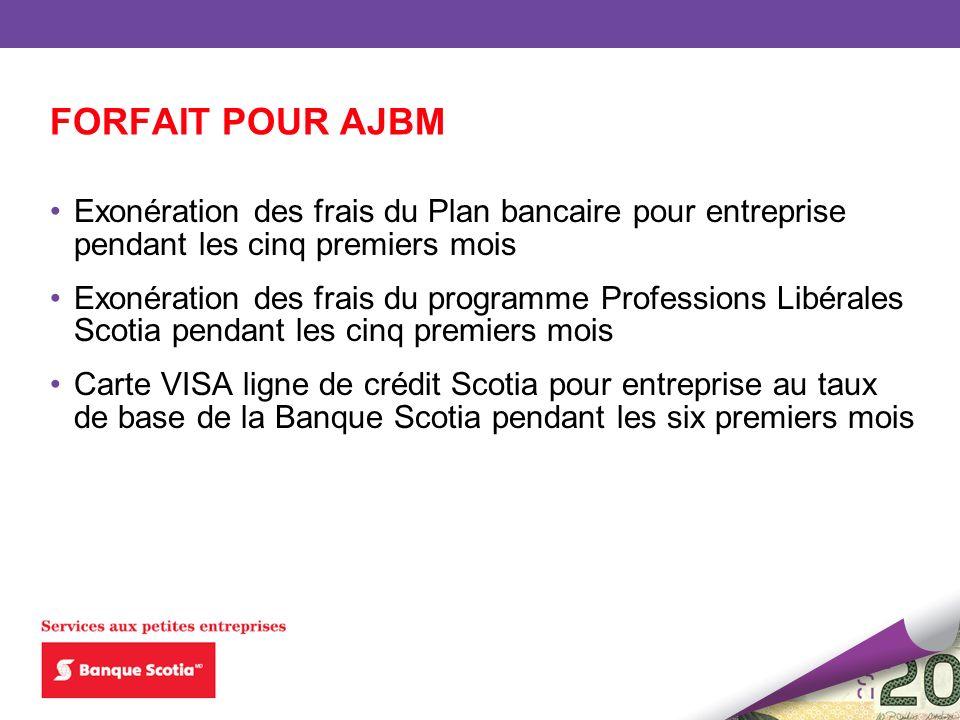 FORFAIT POUR AJBM Exonération des frais du Plan bancaire pour entreprise pendant les cinq premiers mois.
