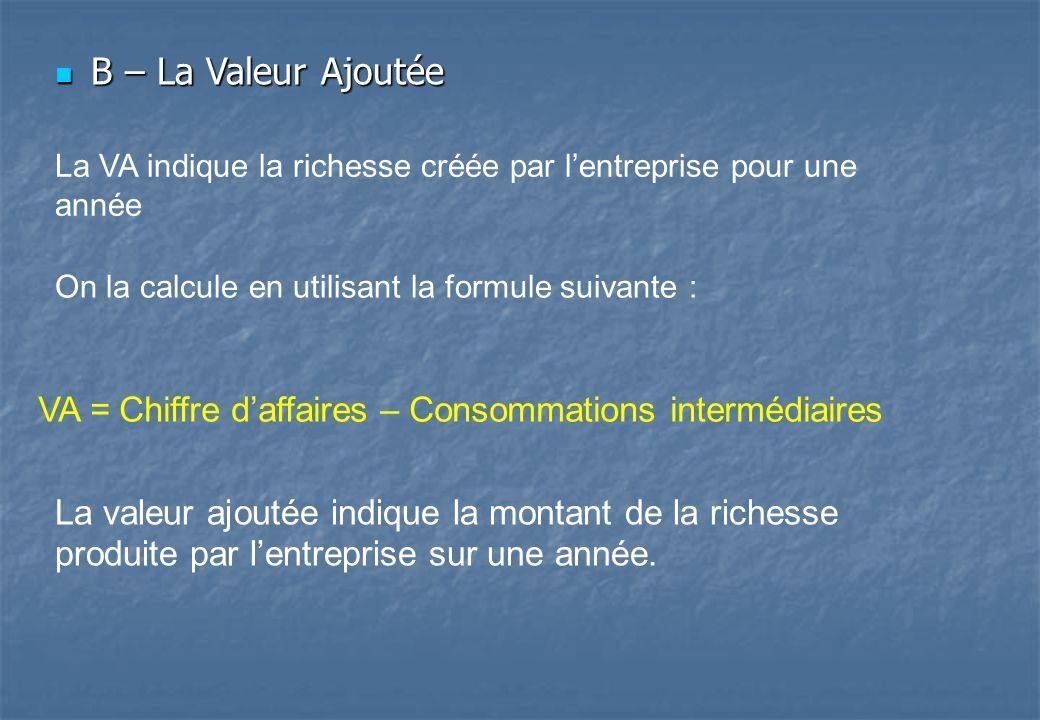 B – La Valeur Ajoutée La VA indique la richesse créée par l'entreprise pour une année. On la calcule en utilisant la formule suivante :