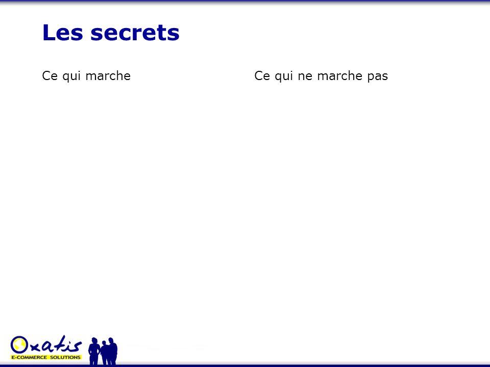 Les secrets Ce qui marche Ce qui ne marche pas