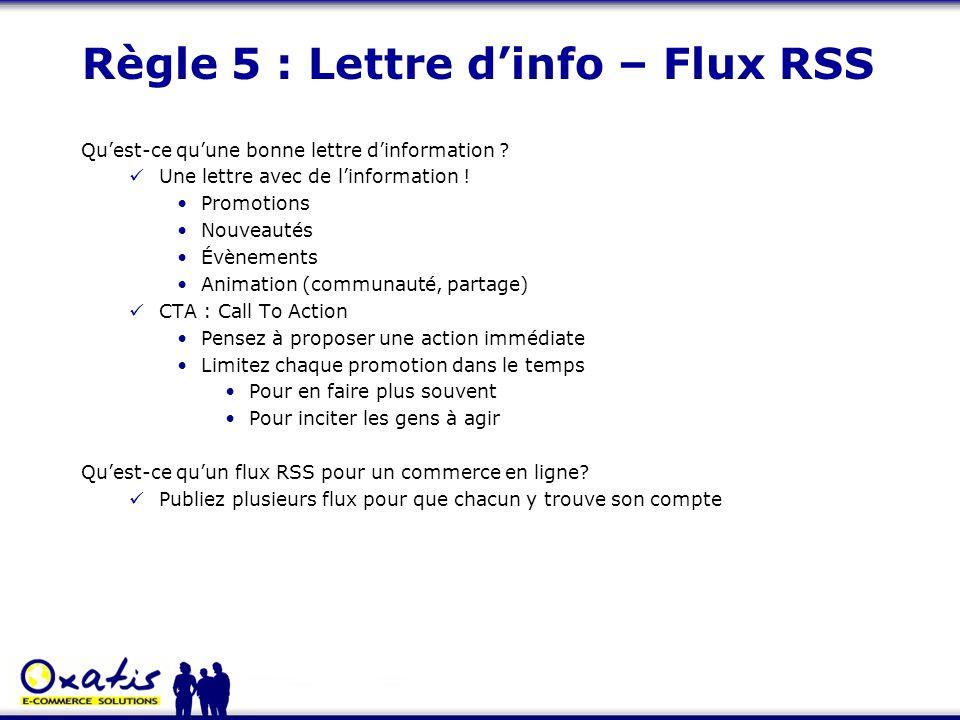 Règle 5 : Lettre d'info – Flux RSS