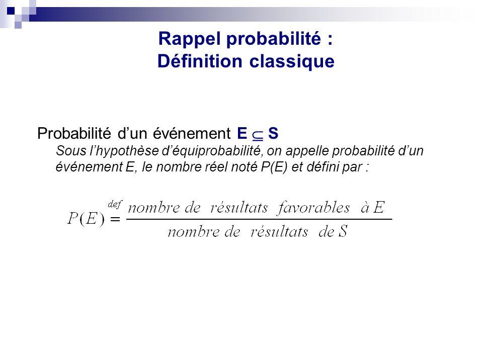 Rappel probabilité : Définition classique