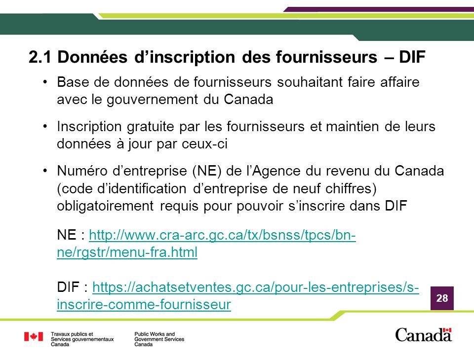2.1 Données d'inscription des fournisseurs – DIF