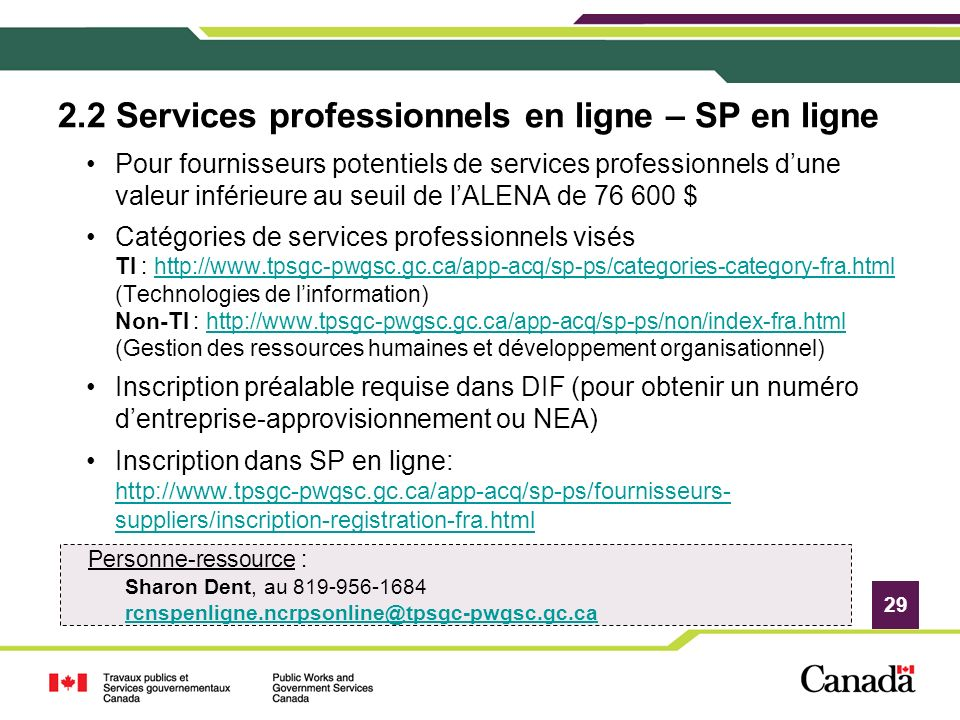 2.2 Services professionnels en ligne – SP en ligne