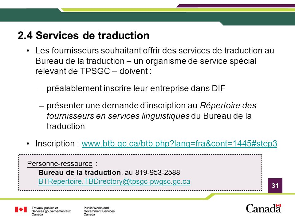 2.4 Services de traduction