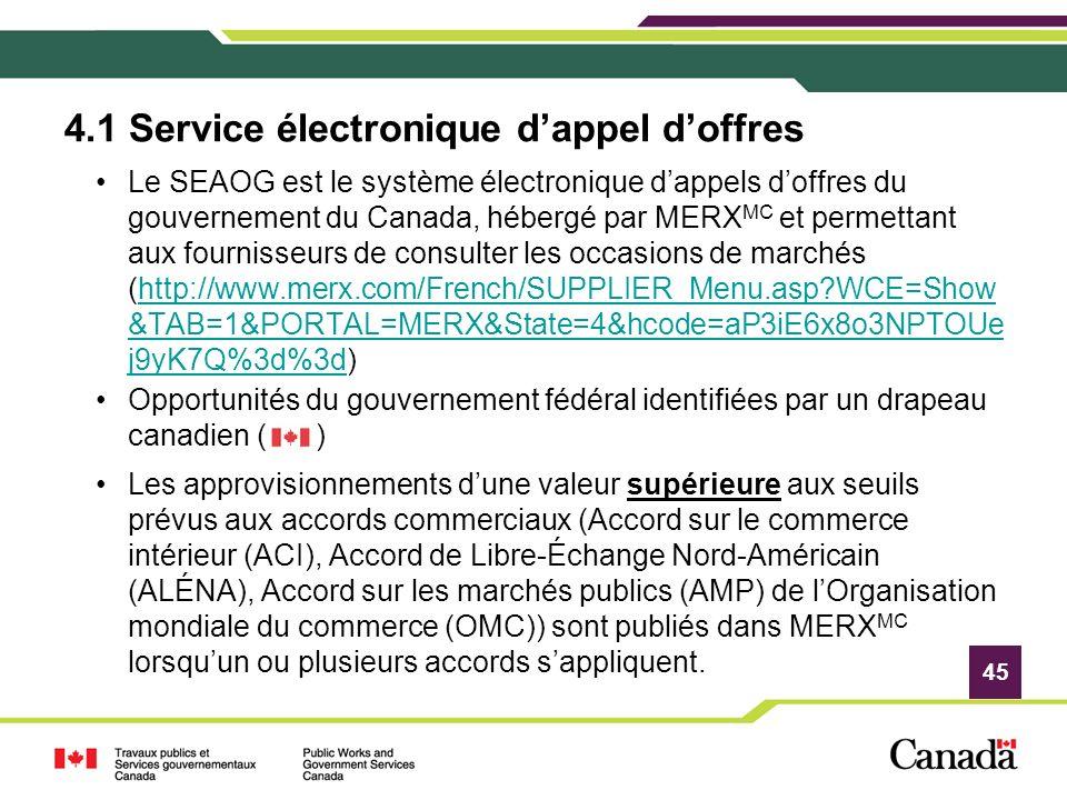 4.1 Service électronique d'appel d'offres