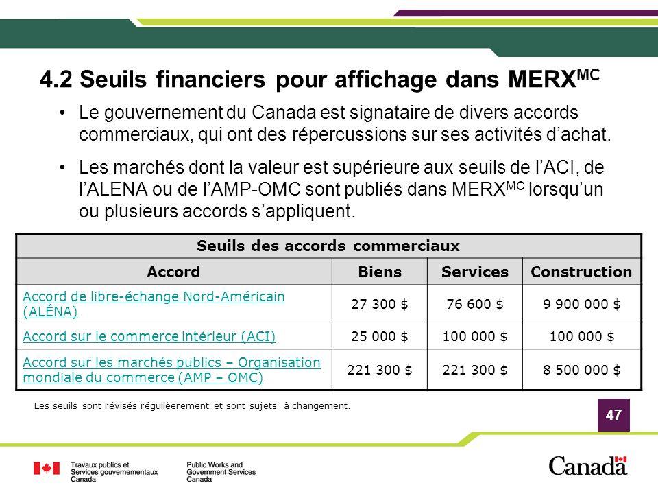 4.2 Seuils financiers pour affichage dans MERXMC